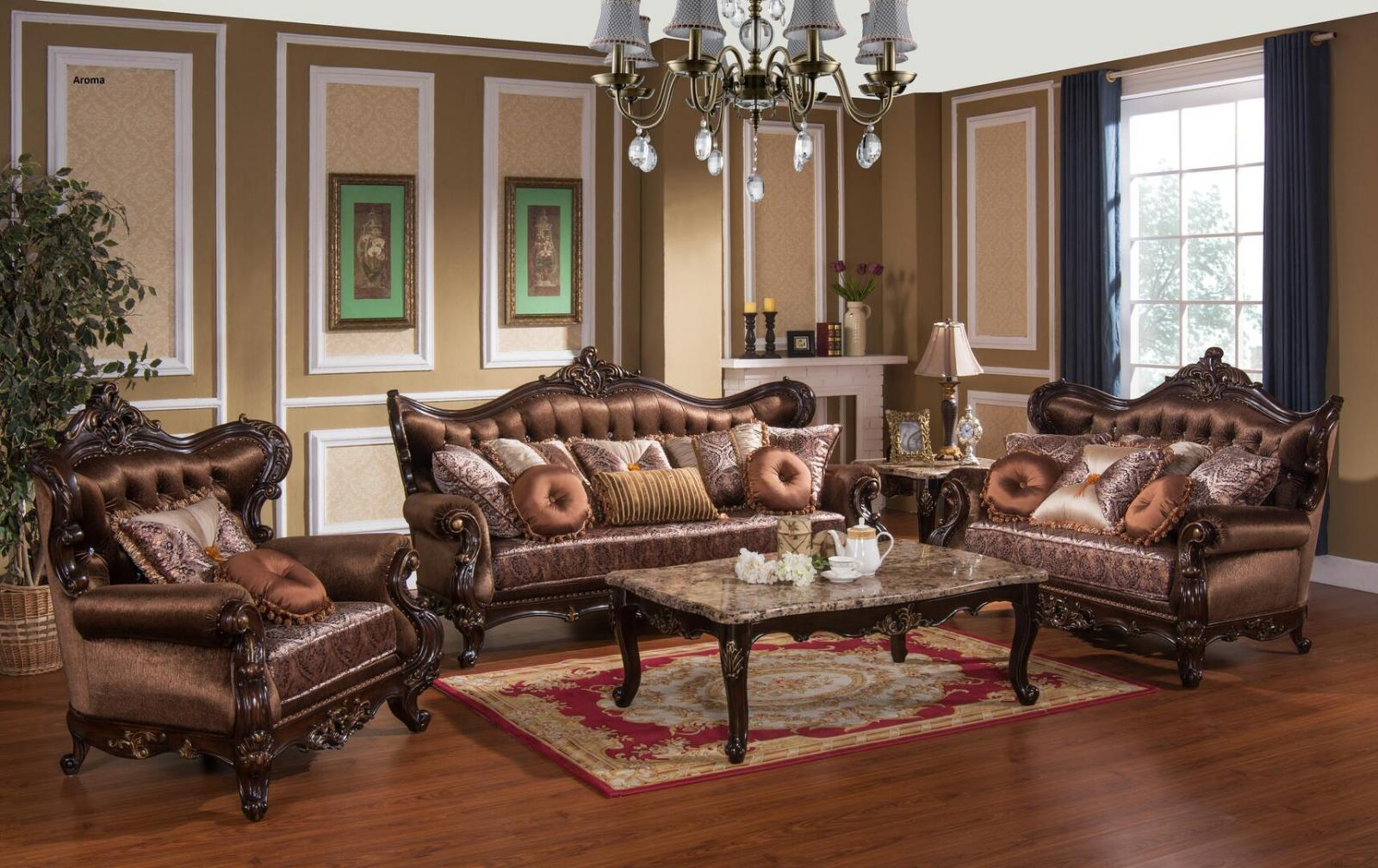 Traditional Cherry Fabric Sofa Loveseat Chair Coffee Table Two End Tables 6 pcs Cosmos Furniture Aroma-Set-6