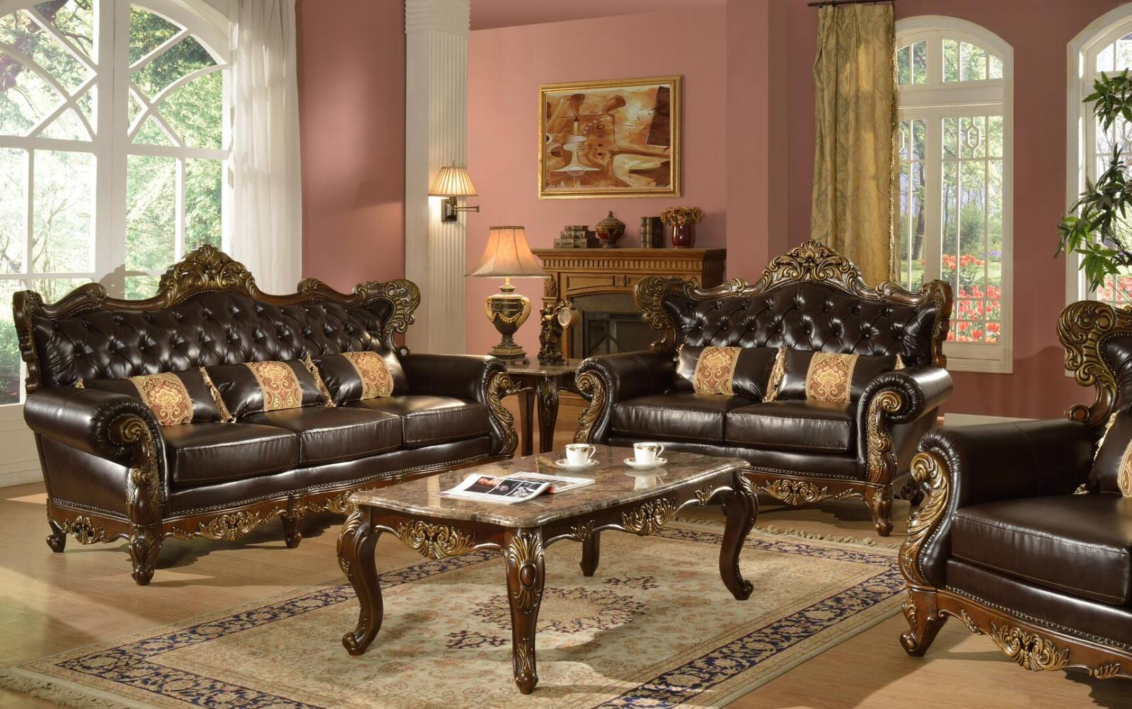 Traditional Cherry Faux Leather Sofa Loveseat Chair and Coffee Table 4 pcs Cosmos Furniture Britney-Set-4