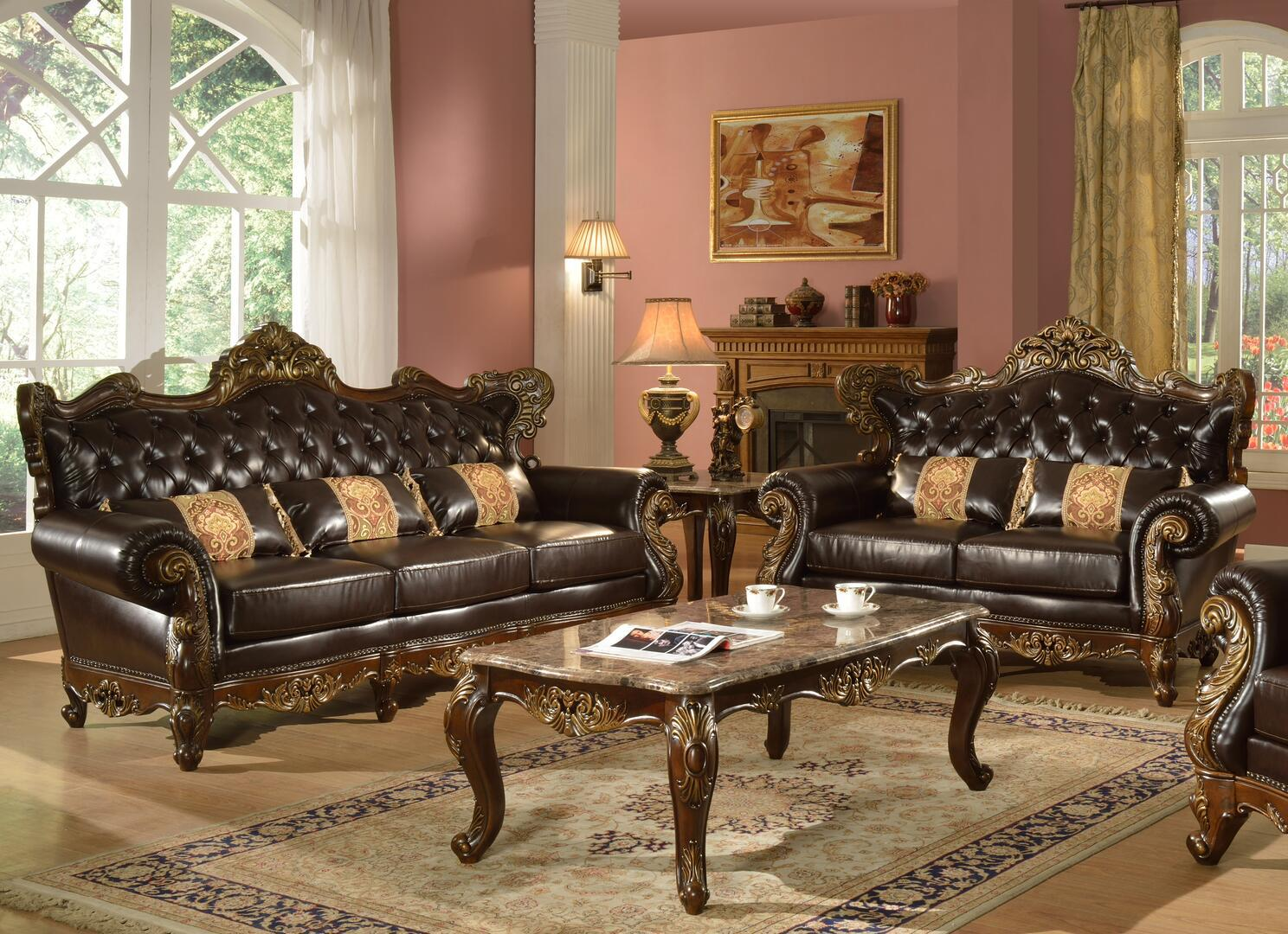 Traditional Cherry Faux Leather Sofa and Loveseat Set 2 pcs Cosmos Furniture Britney-Set-2