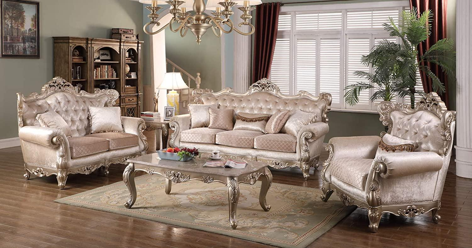 Transitional Beige Fabric Sofa Loveseat Chair and Coffee Table 4 pcs Cosmos Furniture Emily-Set-4