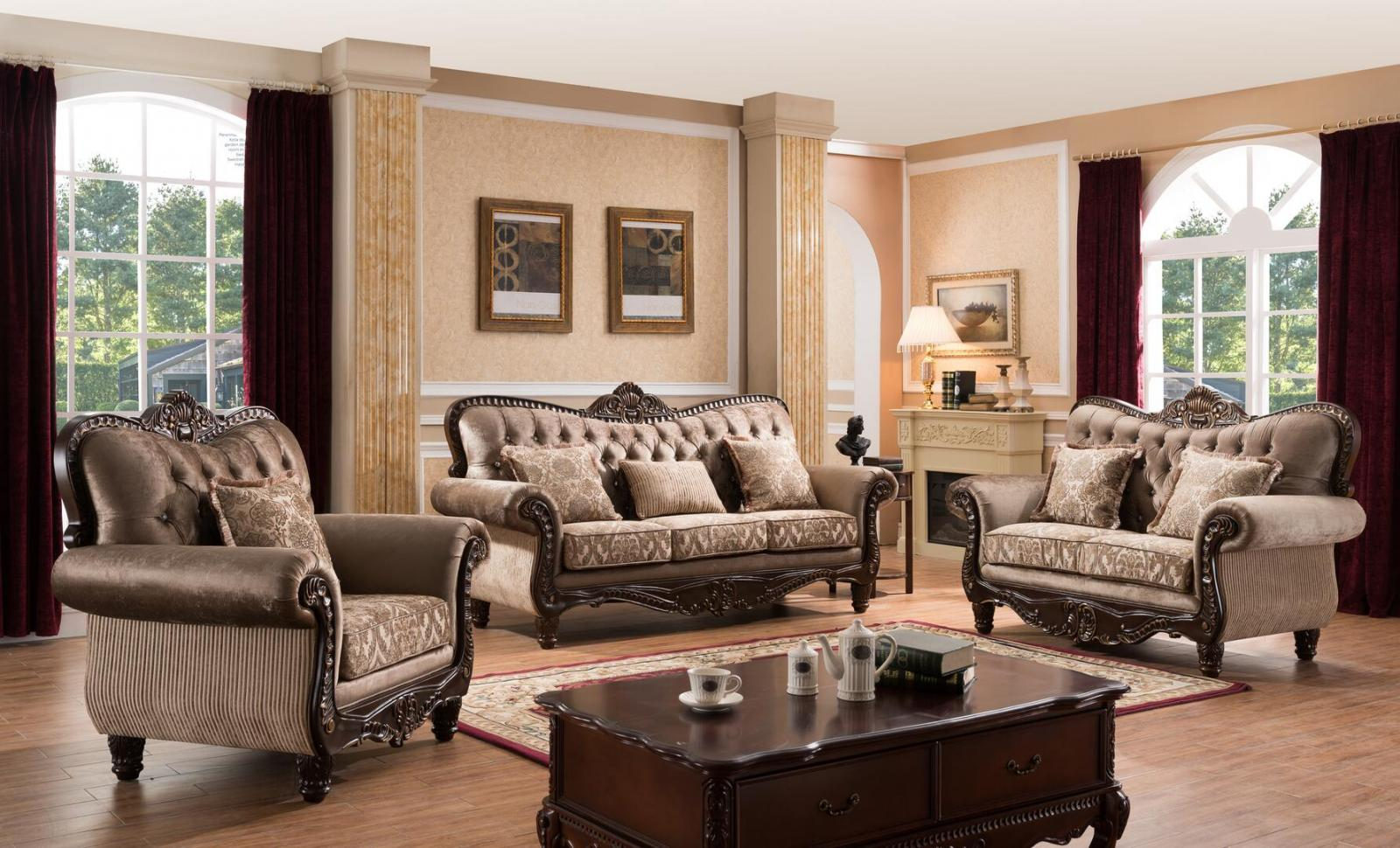 Traditional Cherry Fabric Sofa Loveseat and Chair Set 3 pcs Cosmos Furniture Giana-Set-3
