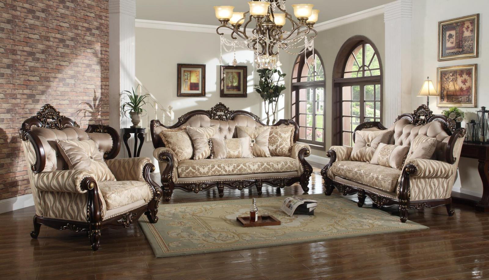 Traditional Cherry Fabric Sofa Loveseat and Chair Set 3 pcs Cosmos Furniture Jade-Set-3