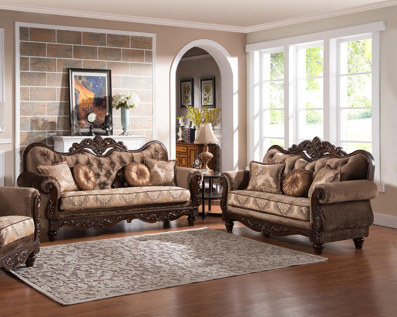 Traditional Cherry Fabric Sofa and Loveseat Set 2 pcs Cosmos Furniture Zoya-Set-2