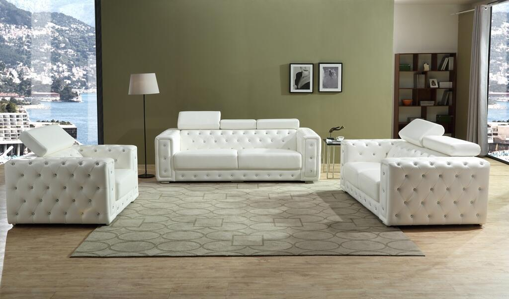 Modern White Faux Leather Sofa Loveseat and Chair Set 3 pcs Cosmos Furniture Charlise-Set-3