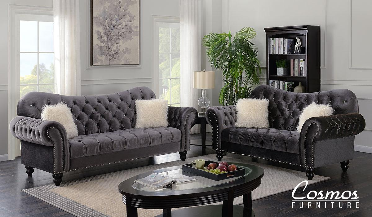 Transitional Gray Fabric Sofa Loveseat and Chair Set 3 pcs Cosmos Furniture Gracie-Set-3