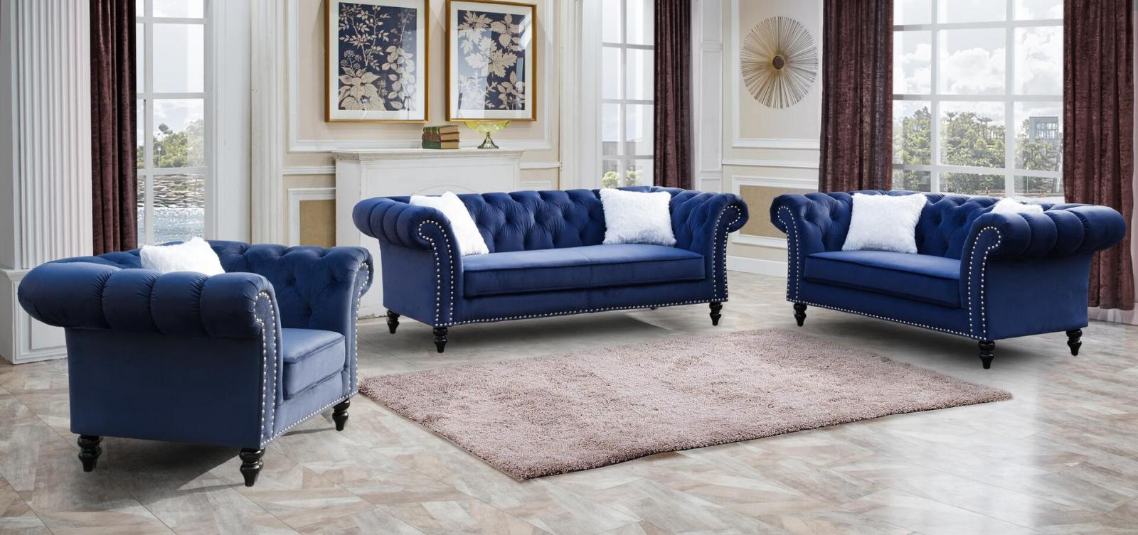 Transitional Blue Fabric Sofa Loveseat and Chair Set 3 pcs Cosmos Furniture Gaby-Set-3