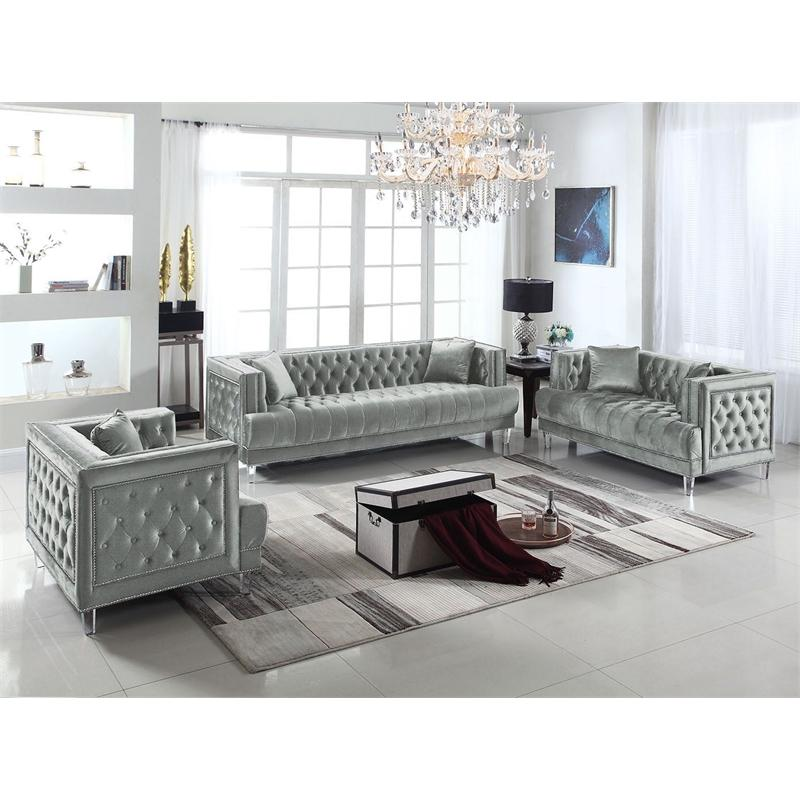 Modern Silver Fabric Sofa Loveseat and Chair Set 3 pcs Cosmos Furniture Kendel Silver-Set-3