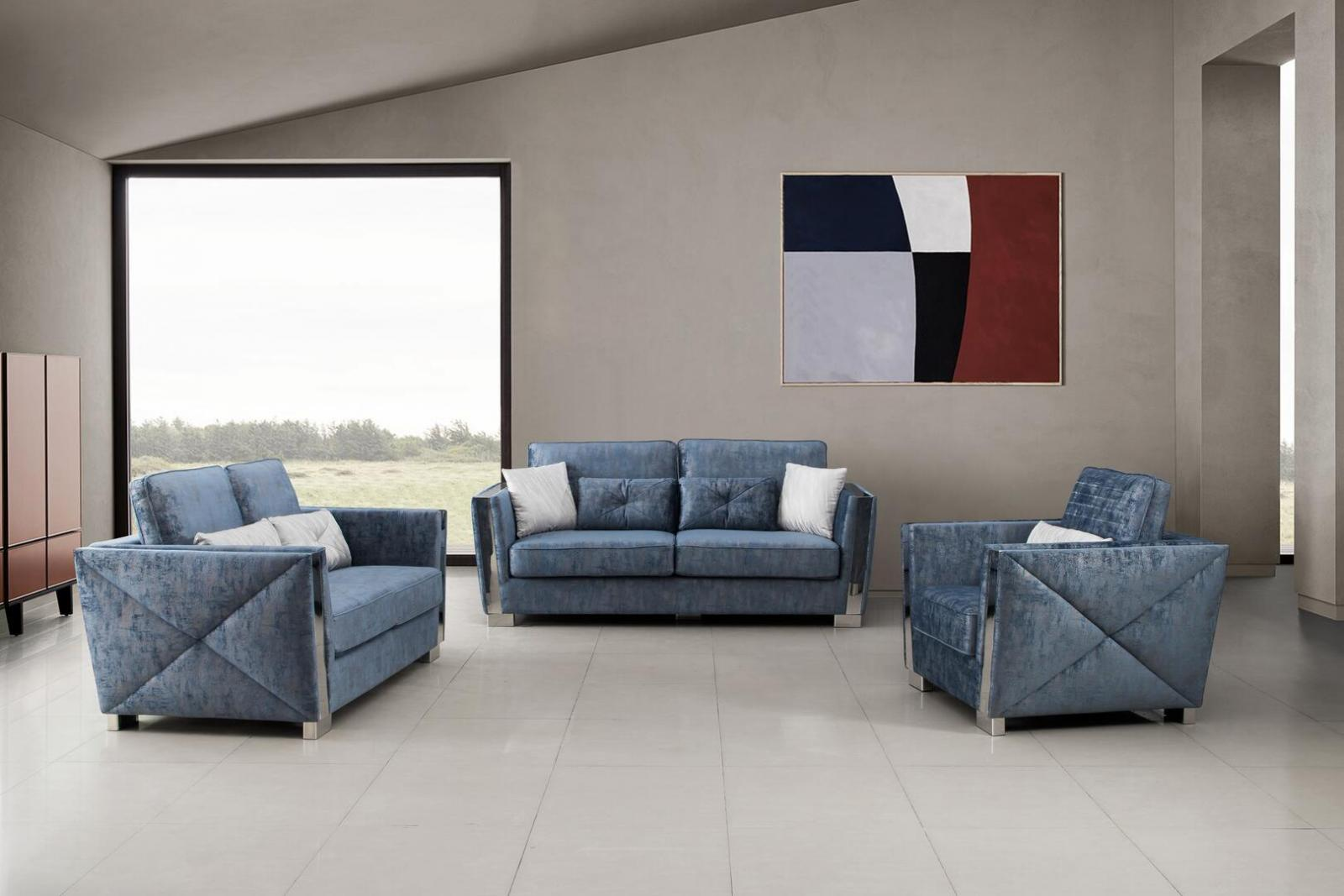 Modern Blue Fabric Sofa Loveseat and Chair Set 3 pcs Cosmos Furniture Kingston Blue-Set-3