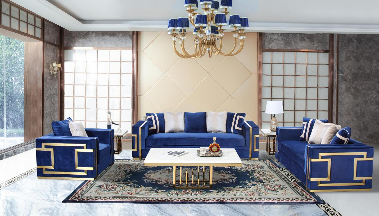 Transitional Blue, Gold Fabric Sofa Loveseat and Chair Set 3 pcs Cosmos Furniture Lawrence-Set-3