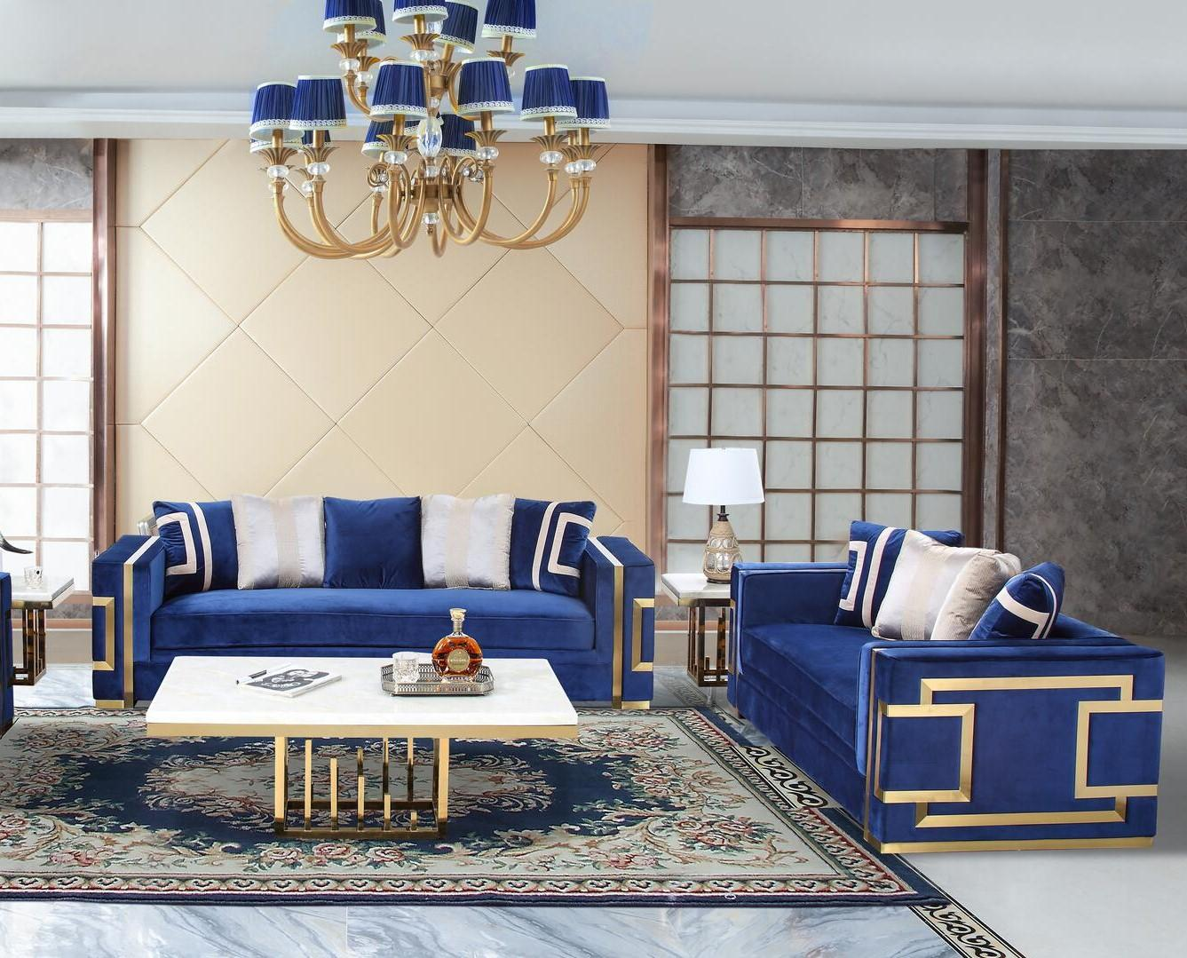 Transitional Blue, Gold Fabric Sofa and Loveseat Set 2 pcs Cosmos Furniture Lawrence-Set-2