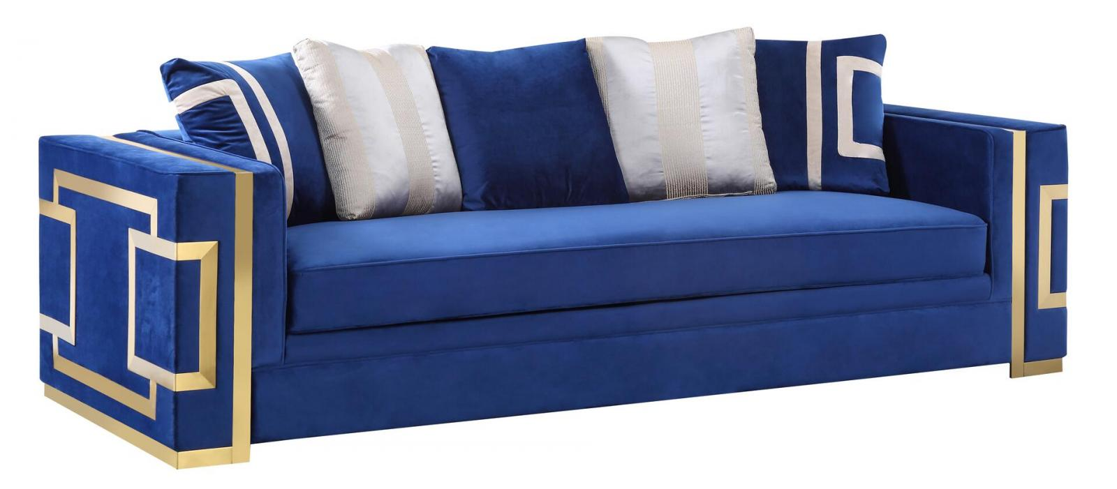 Transitional Blue, Gold Fabric Sofa 1 pcs Cosmos Furniture Lawrence-Sofa