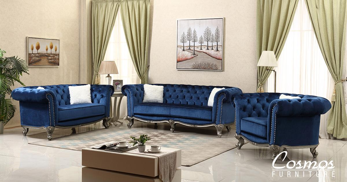 Transitional Blue Fabric Sofa Loveseat and Chair Set 3 pcs Cosmos Furniture Mia-Set-3