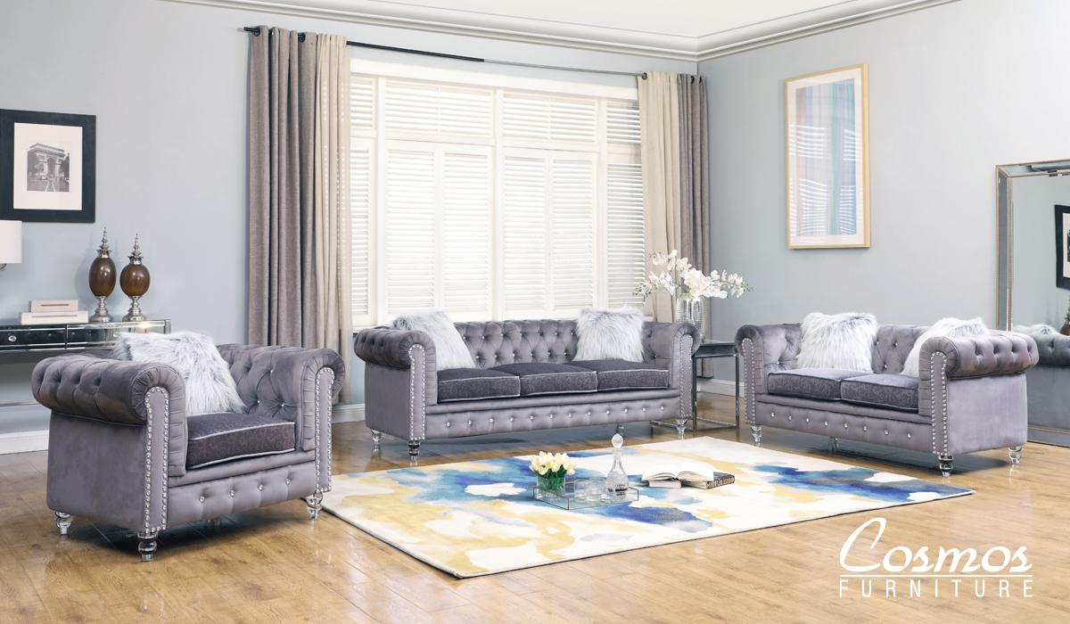 Modern Gray Fabric Sofa Loveseat and Chair Set 3 pcs Cosmos Furniture Sahara-Set-3