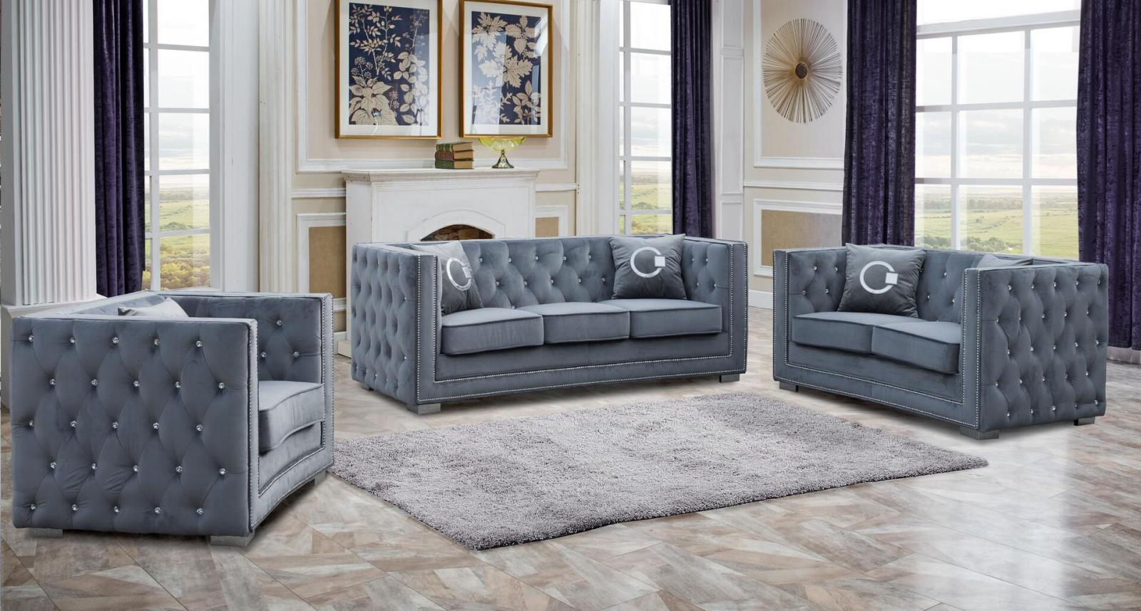 Modern Gray Fabric Sofa Loveseat and Chair Set 3 pcs Cosmos Furniture Zion-Set-3