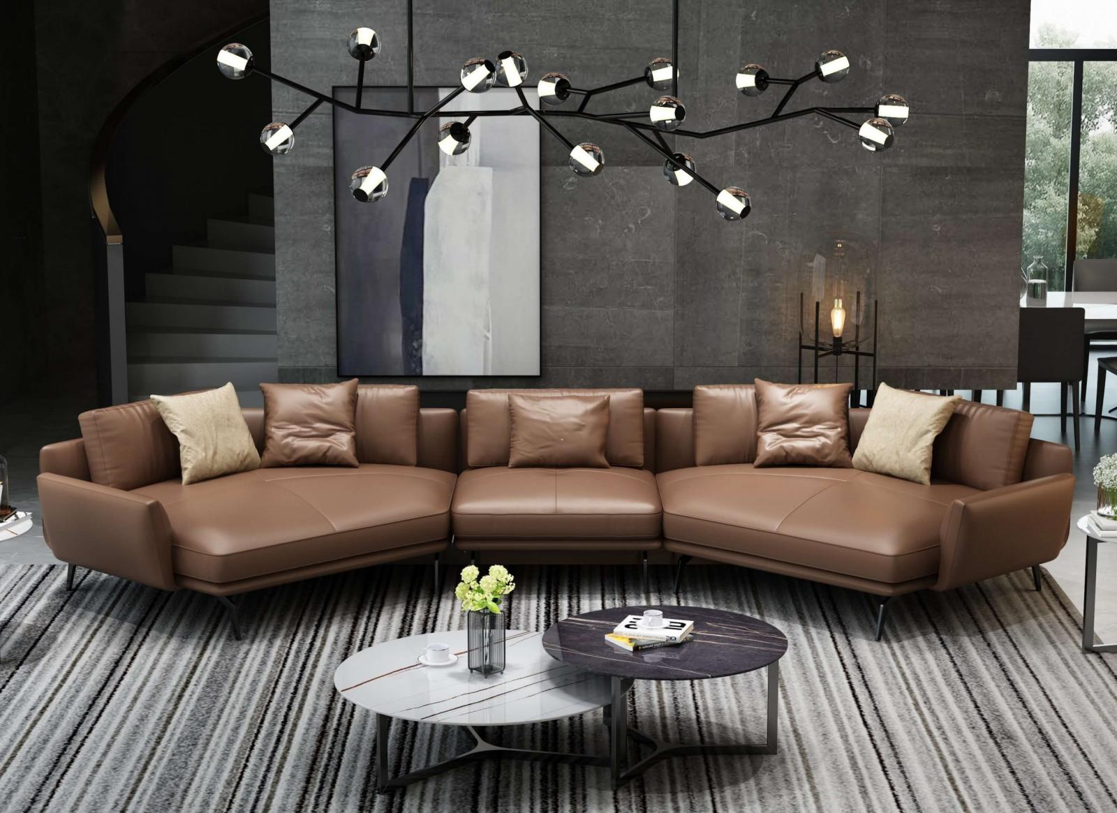 Modern  Vintage Brown Wood  Genuine leather  Solid Hardwood and Italian Leather Sectional Sofa EUROPEAN FURNITURE EF-65550-5S