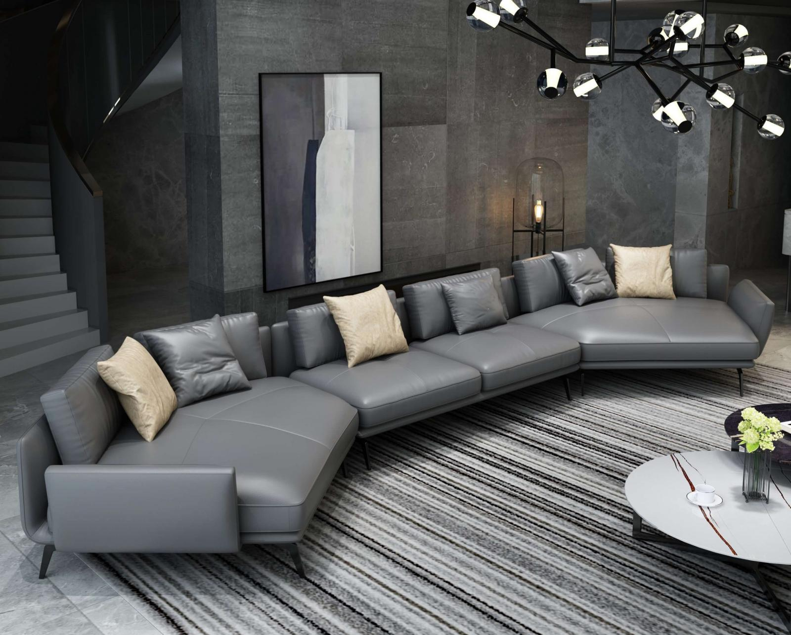 Modern  Vintage Grey  Smoked Wood  Genuine leather  Solid Hardwood and Italian Leather Sectional Sofa EUROPEAN FURNITURE EF-65553-6S