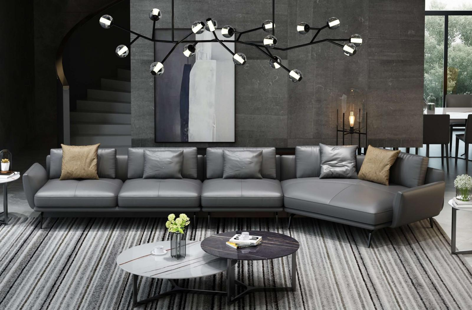 Modern  Vintage Grey  Smoked Wood  Genuine leather  Solid Hardwood and Italian Leather Sectional Sofa EUROPEAN FURNITURE EF-54434R-3RHC