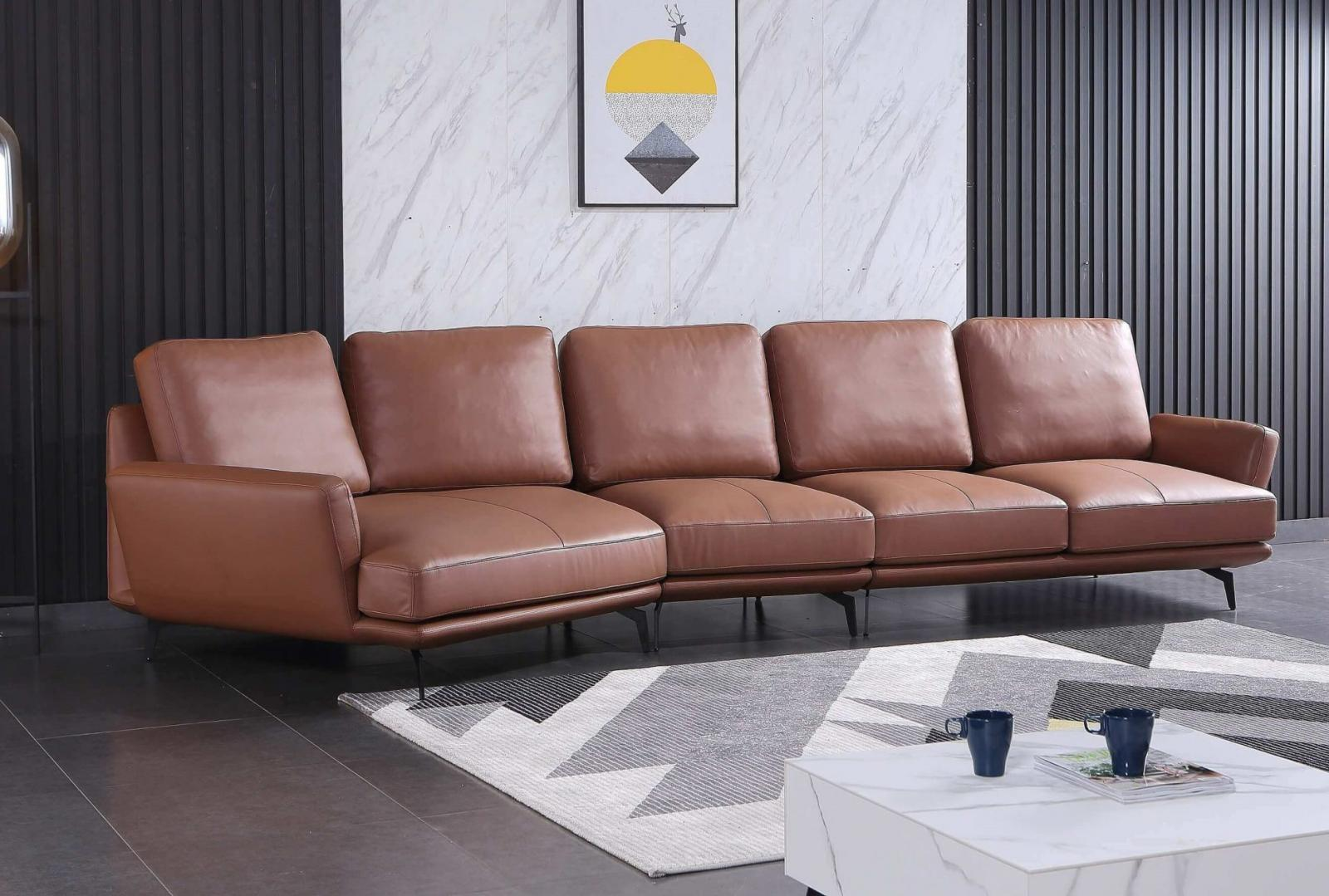 Modern  Vintage Brown Wood  Genuine leather  Solid Hardwood and Italian Leather Sectional Sofa EUROPEAN FURNITURE EF-54432L-3LHC