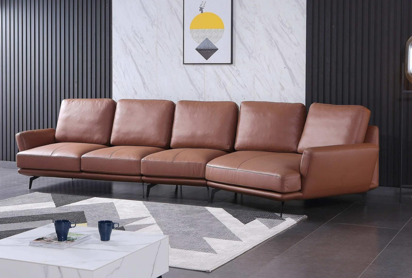 Modern  Vintage Brown Wood  Genuine leather  Solid Hardwood and Italian Leather Sectional Sofa EUROPEAN FURNITURE EF-54433R-3RHC