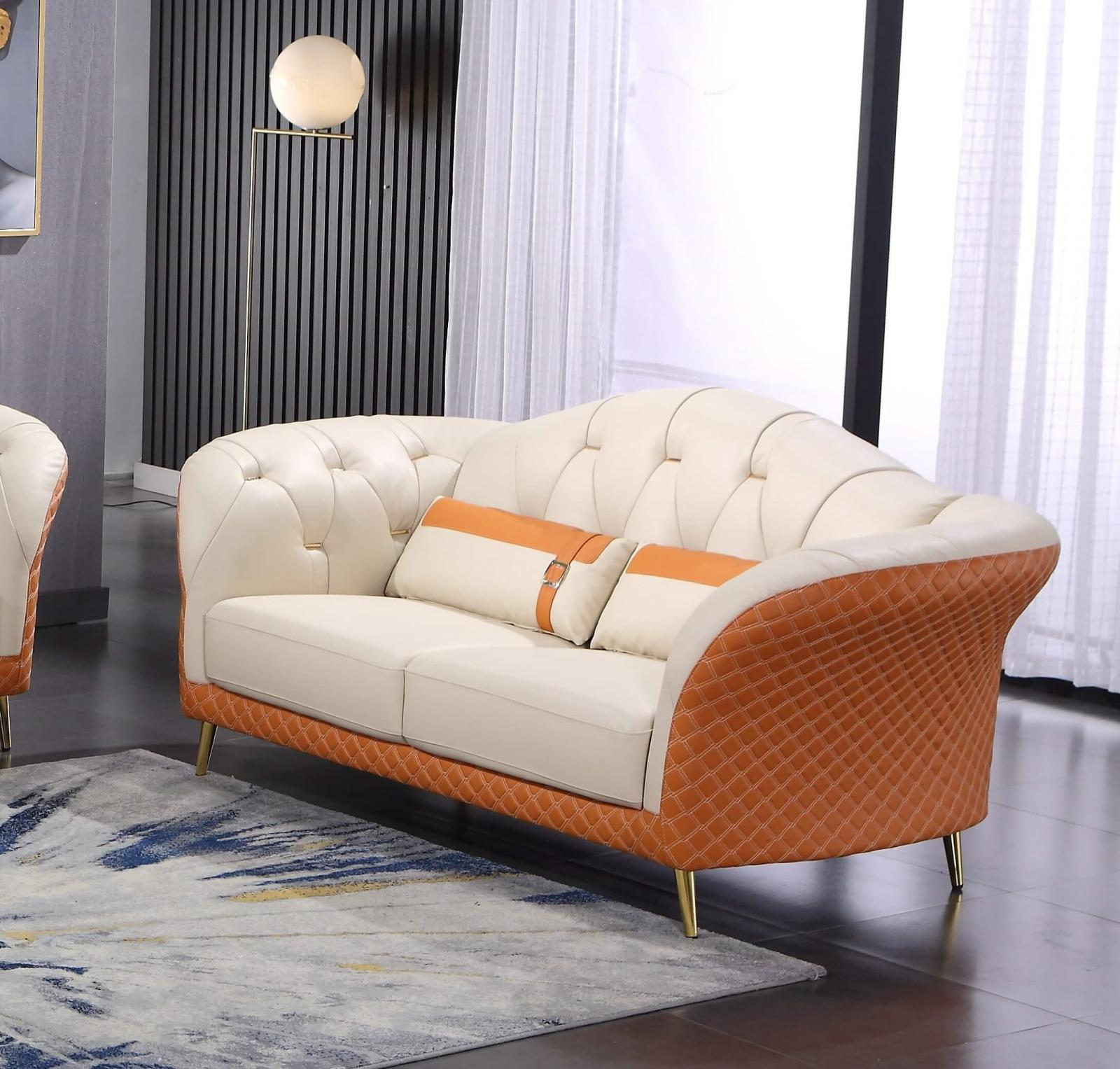 Modern  Vintage Orange  Off-White Wood  Genuine leather  Solid Hardwood and Italian Leather Loveseat EUROPEAN FURNITURE EF-28040-L