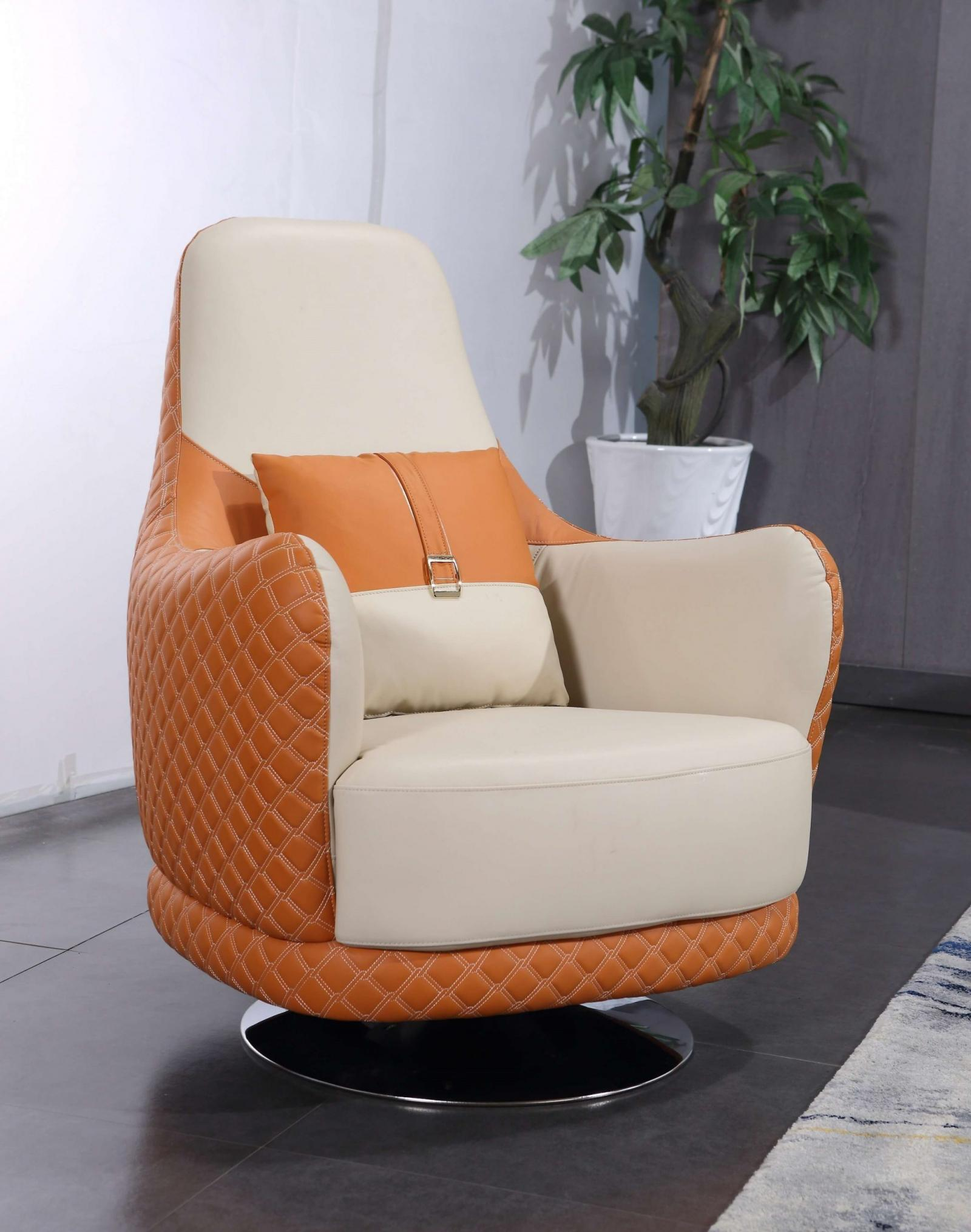 Modern  Vintage Orange  Off-White Wood  Genuine leather  Solid Hardwood and Italian Leather Arm Chair EUROPEAN FURNITURE EF-28040-C