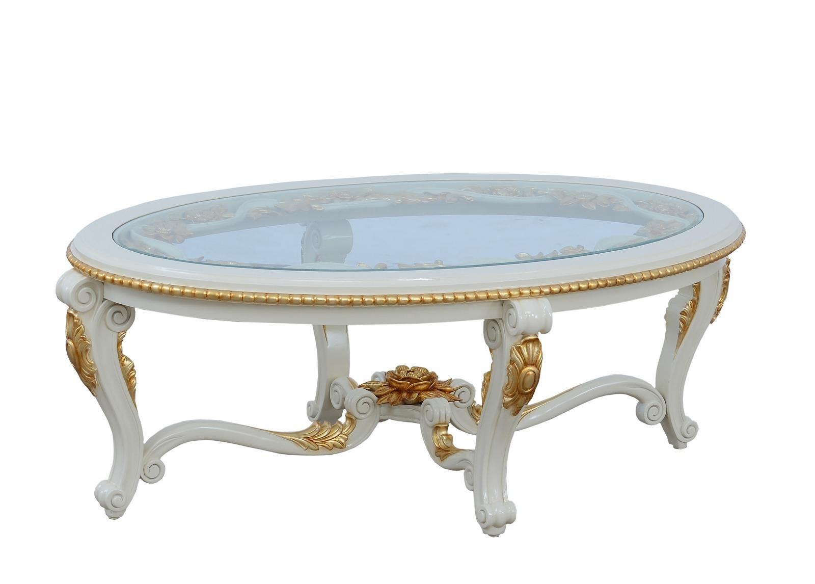 Classic  Traditional Beige  Gold  Antique Wood  Solid Hardwood and  Coffee Table EUROPEAN FURNITURE 30017-CT