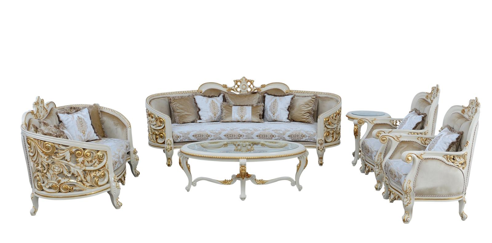 Classic  Traditional Beige  Gold  Antique Wood  Solid Hardwood and Fabric Sofa Set EUROPEAN FURNITURE 30017-S-Set-4