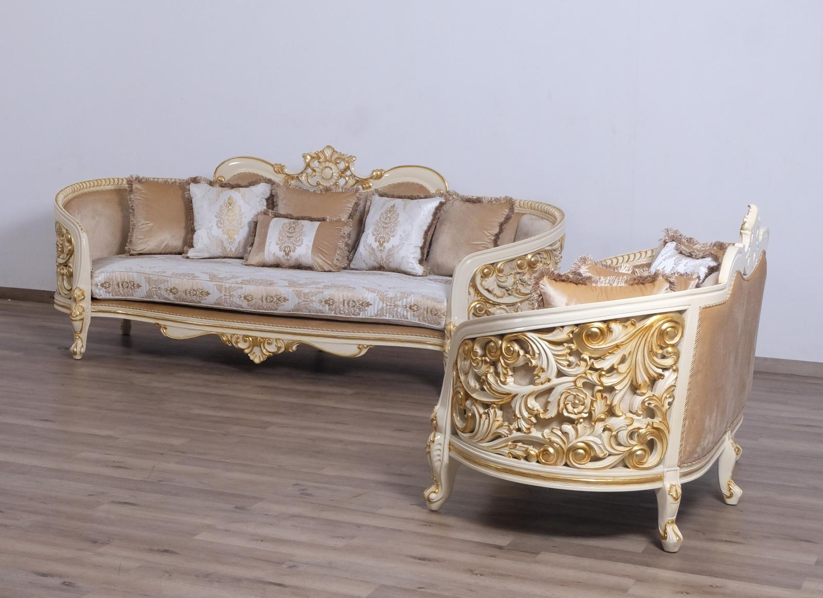 Classic  Traditional Beige  Gold  Antique Wood  Solid Hardwood and Fabric Sofa Set EUROPEAN FURNITURE 30017-S-Set-2