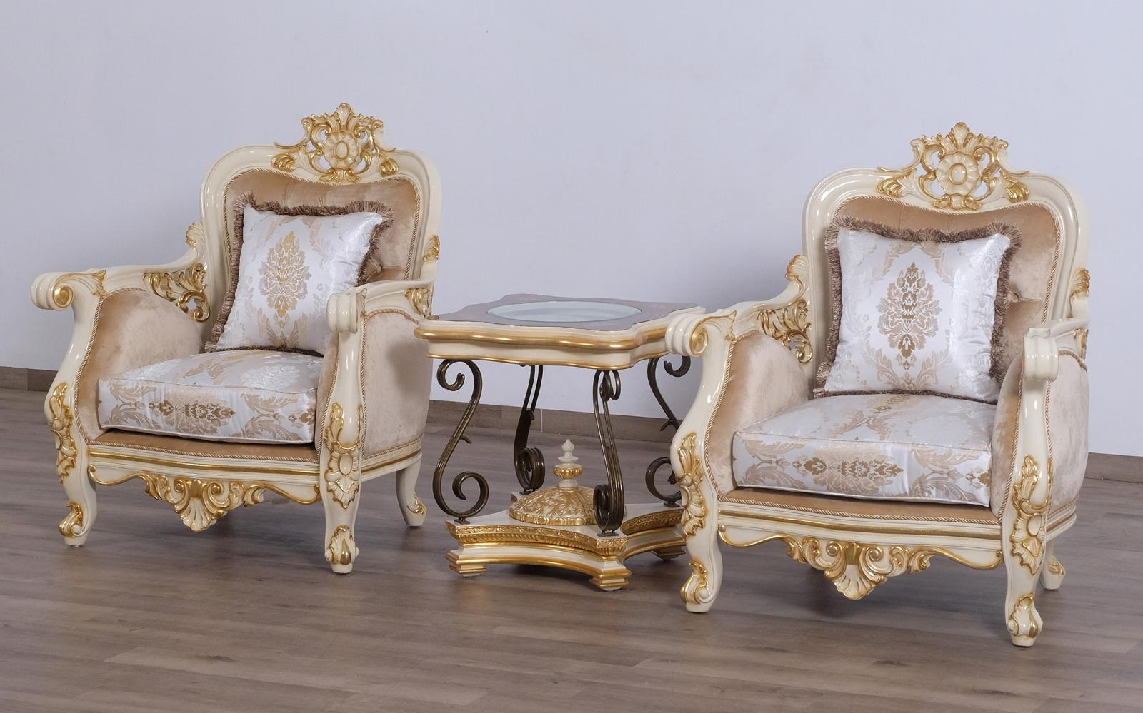 Classic  Traditional Beige  Gold  Antique Wood  Solid Hardwood and Fabric Arm Chair Set EUROPEAN FURNITURE 30017-C-Set-2