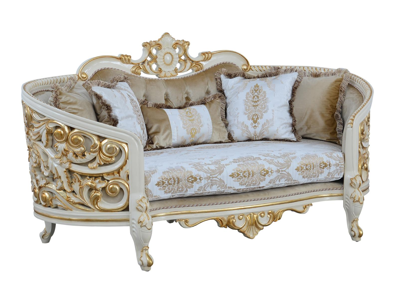 Classic  Traditional Beige  Gold  Antique Wood  Solid Hardwood and Fabric Loveseat EUROPEAN FURNITURE 30017-L