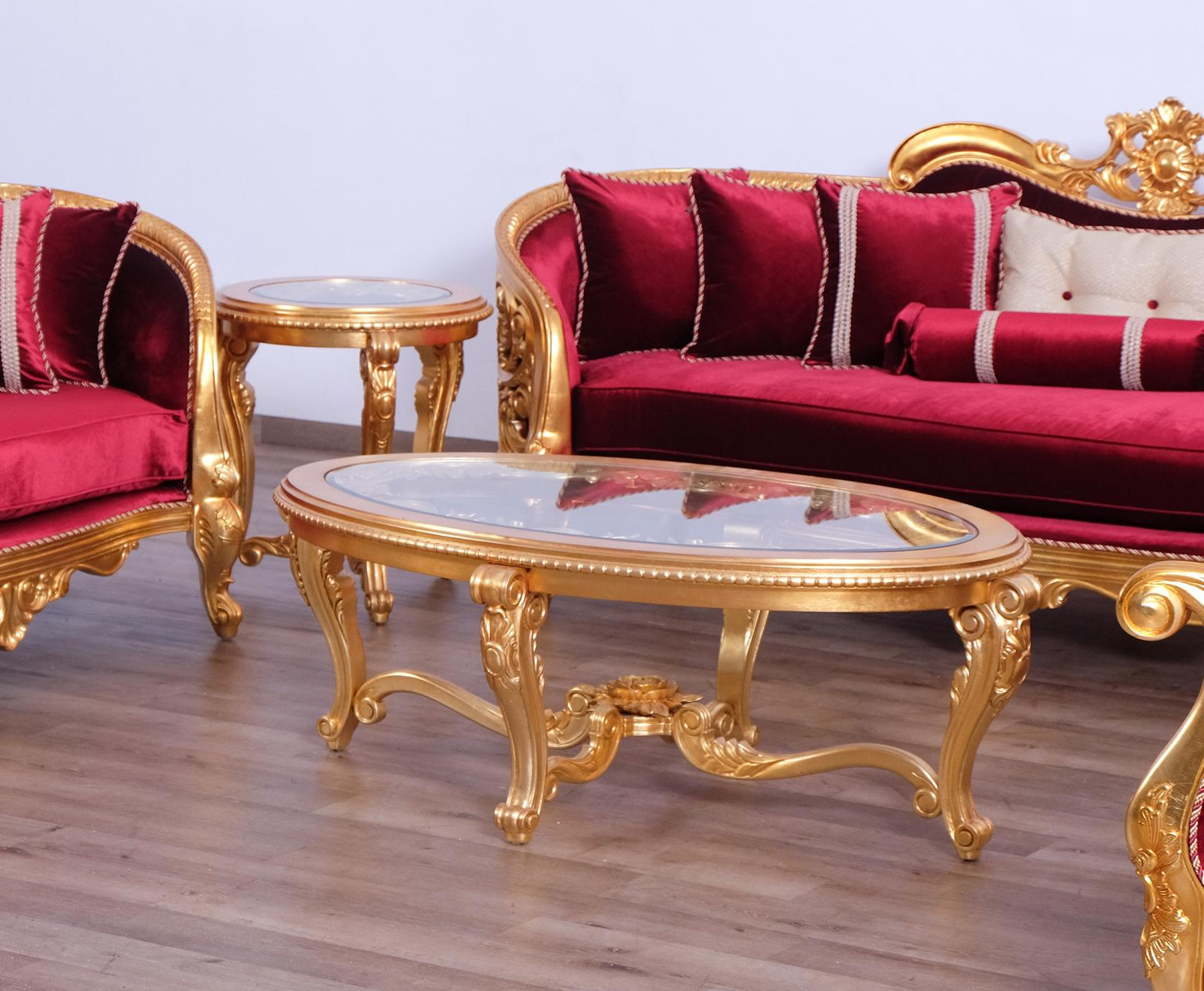 Classic  Traditional Gold  Red  Antique   Red Wood  Solid Hardwood and  Coffee Table Set EUROPEAN FURNITURE 30015-CT-Set-2