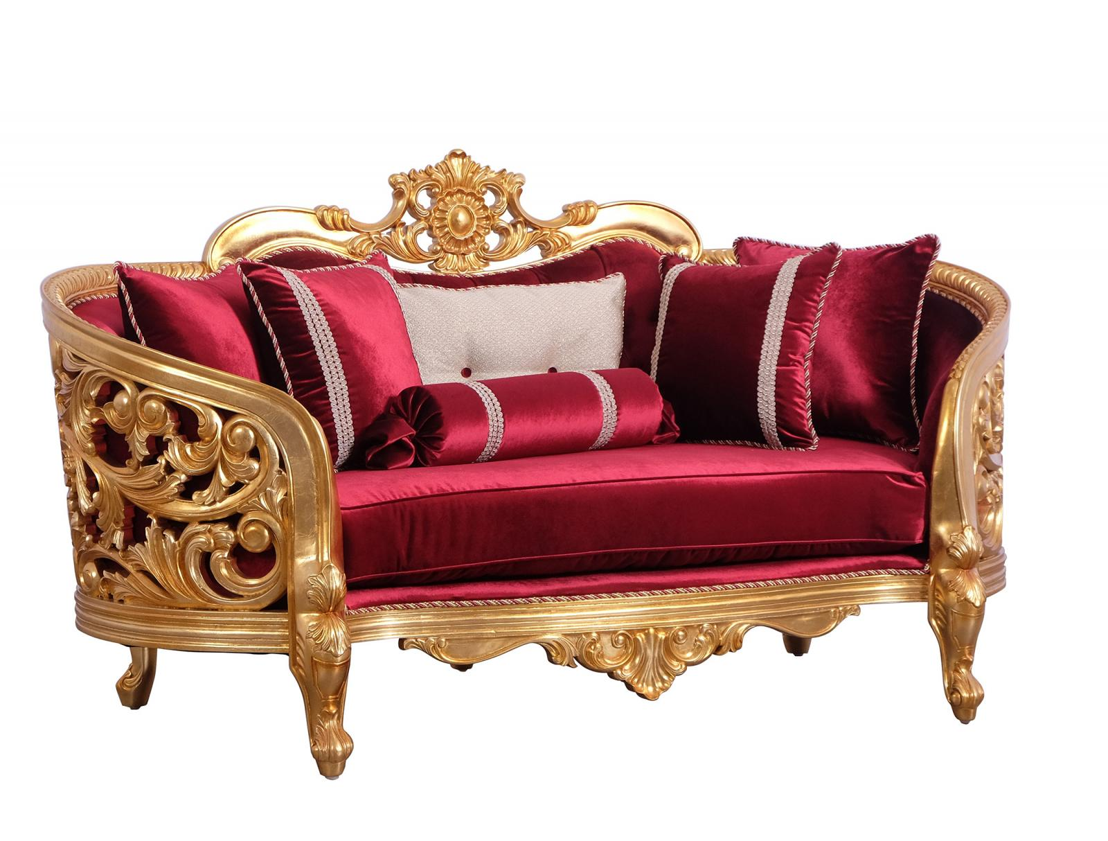 Classic  Traditional Burgundy  Gold  Antique   Red Wood  Solid Hardwood and Velvet Loveseat EUROPEAN FURNITURE 30015-L