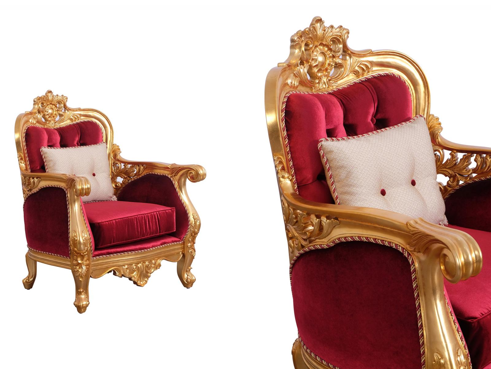 Classic  Traditional Burgundy  Gold  Antique   Red Wood  Solid Hardwood and Velvet Arm Chair Set EUROPEAN FURNITURE 30015-C-Set-2