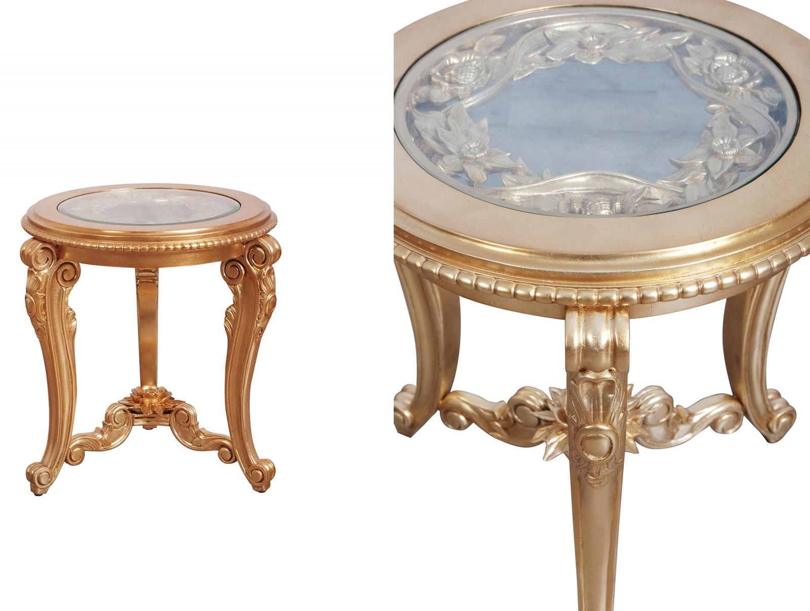 Classic  Traditional Gold  Antique Wood  Solid Hardwood and  End Table EUROPEAN FURNITURE 30015-ET