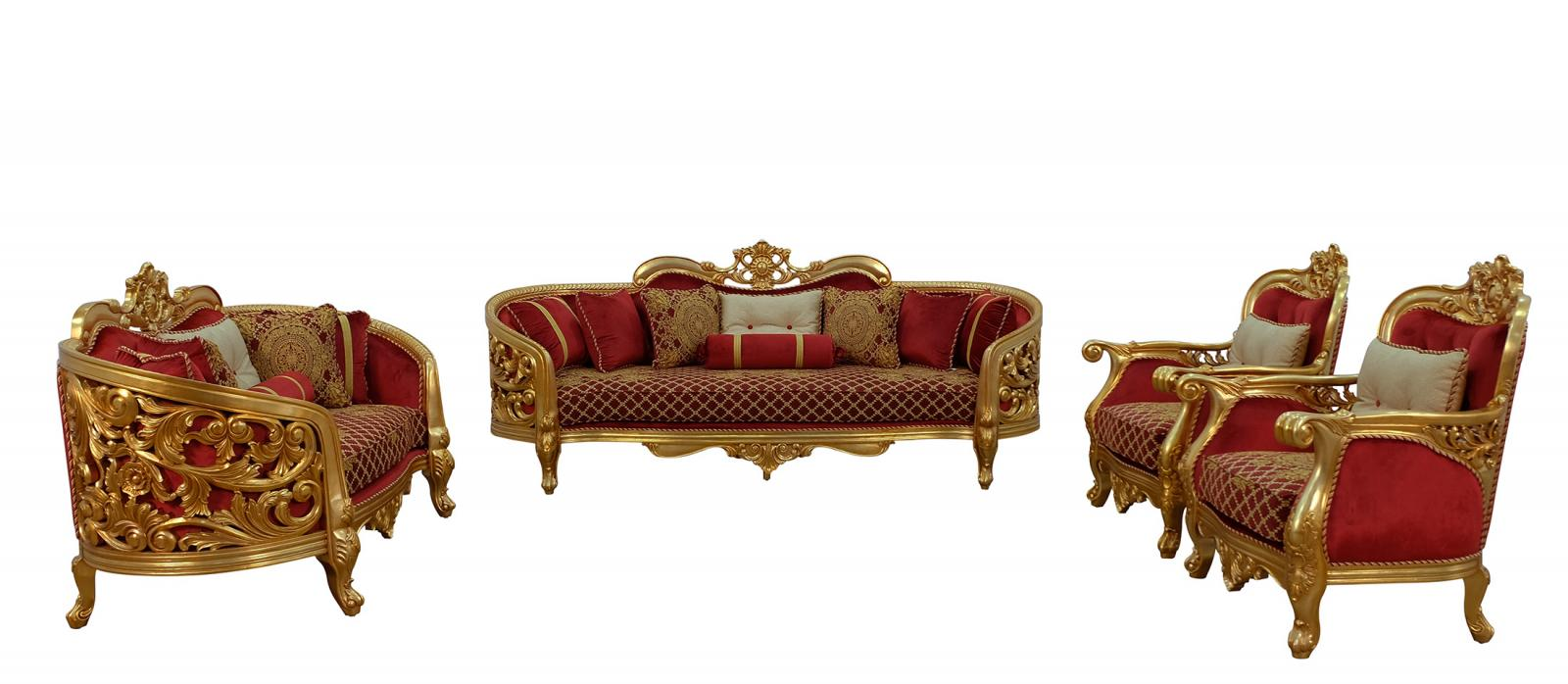 Classic  Traditional Gold  Antique   Red Wood  Solid Hardwood and Velvet Sofa Set EUROPEAN FURNITURE 30013-S-Set-4