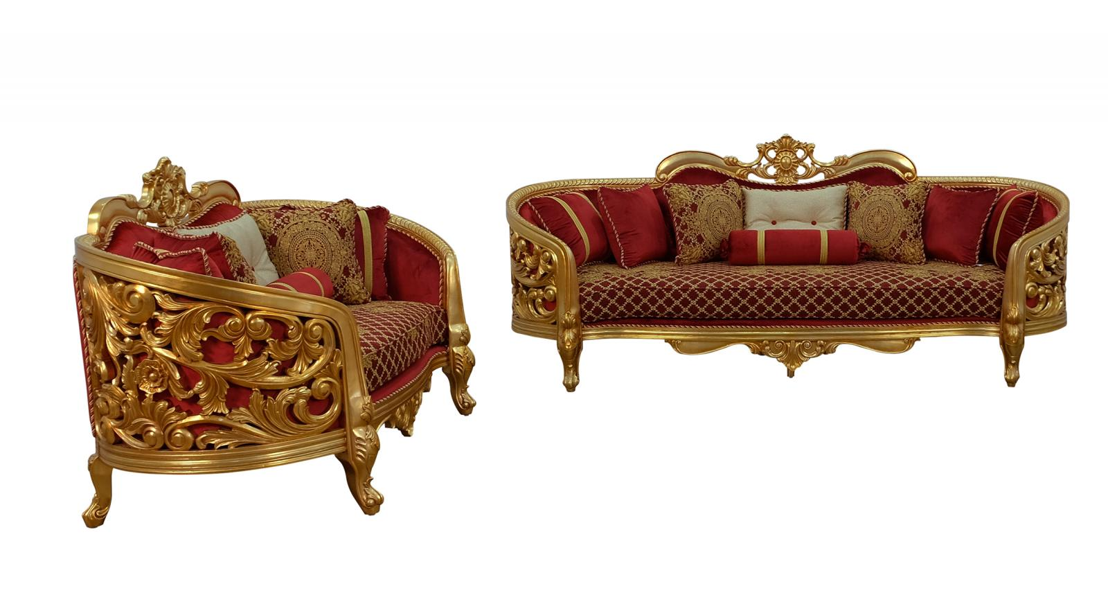 Classic  Traditional Gold  Antique   Red Wood  Solid Hardwood and Velvet Sofa Set EUROPEAN FURNITURE 30013-S-Set-2