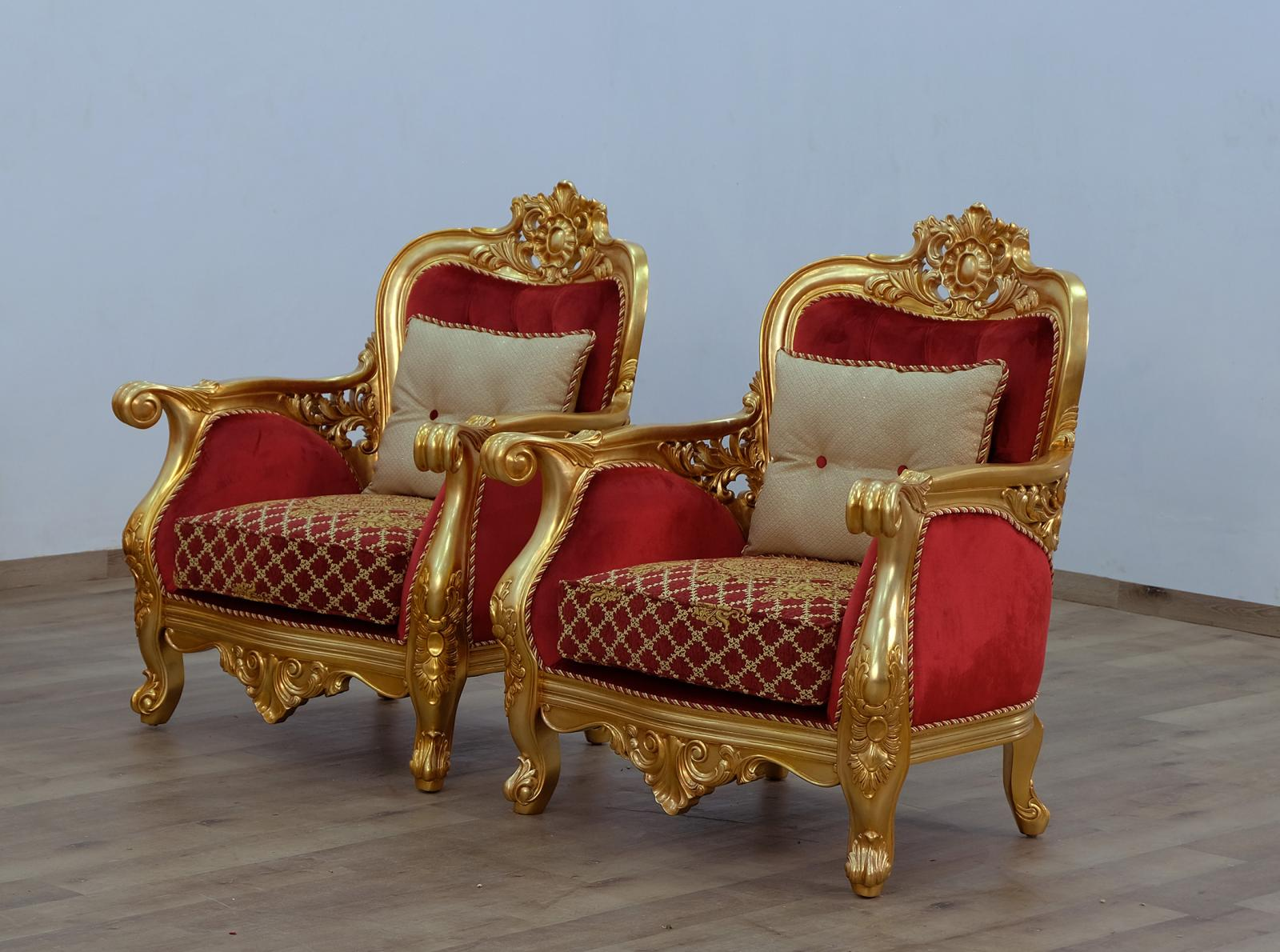 Classic  Traditional Gold  Antique   Red Wood  Solid Hardwood and Velvet Arm Chair Set EUROPEAN FURNITURE 30013-C-Set-2