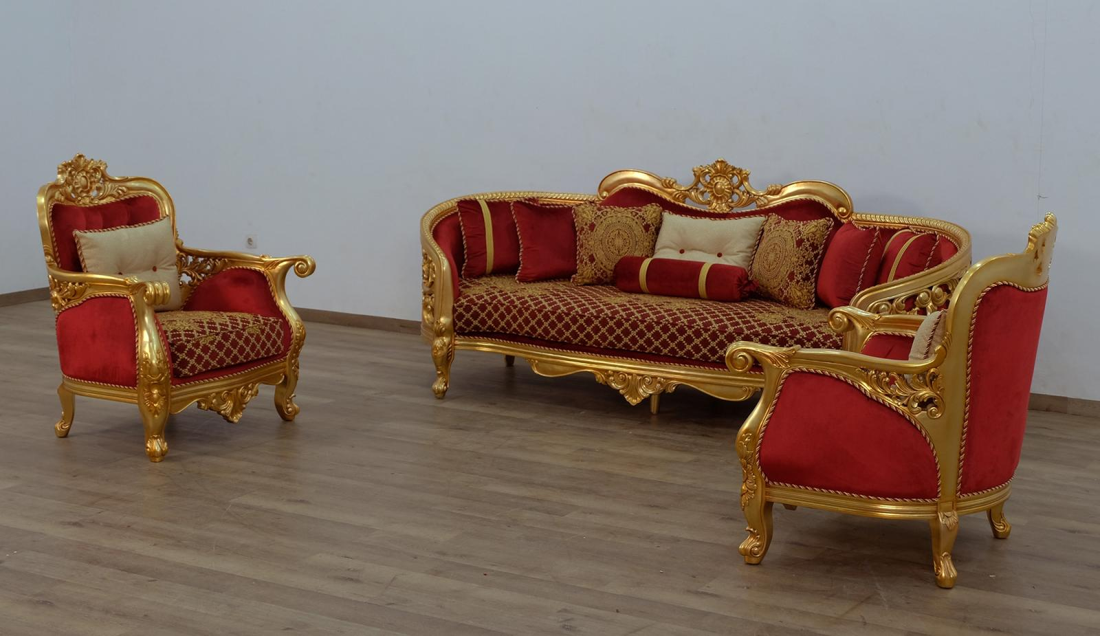 Classic  Traditional Gold  Antique   Red Wood  Solid Hardwood and Velvet Sofa Set EUROPEAN FURNITURE 30013-S-Set-3