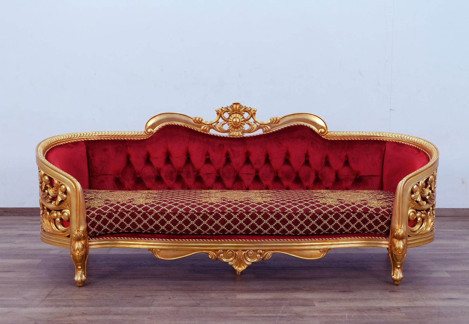 Classic  Traditional Gold  Antique   Red Wood  Solid Hardwood and Velvet Sofa EUROPEAN FURNITURE 30013-S