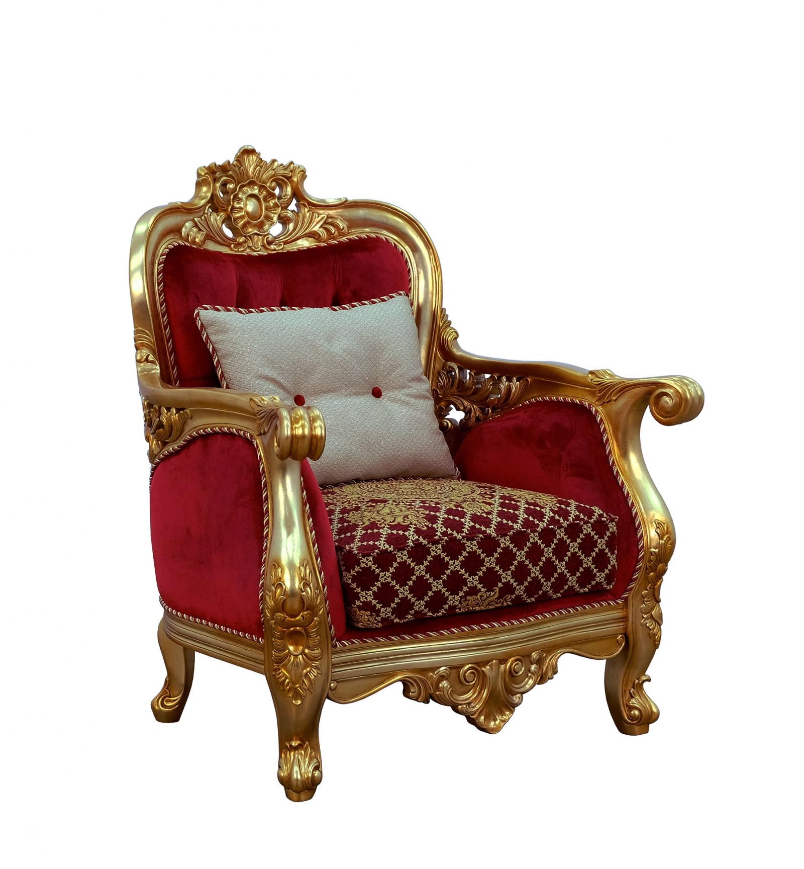 Classic  Traditional Gold  Antique   Red Wood  Solid Hardwood and Velvet Arm Chair EUROPEAN FURNITURE 30013-C