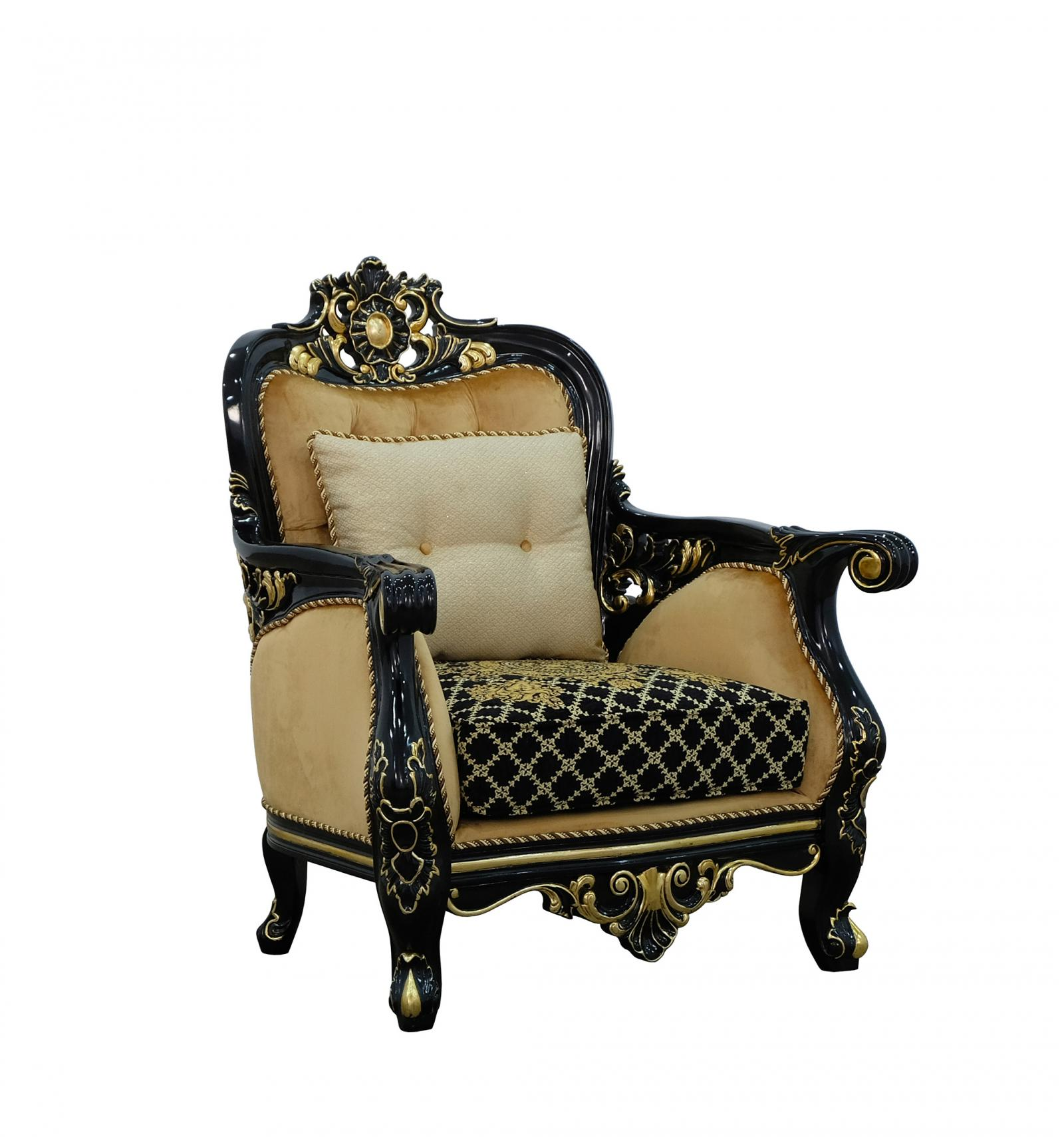 Classic  Traditional Beige  Gold  Antique   Black Wood  Solid Hardwood and Velvet Arm Chair EUROPEAN FURNITURE 30019-C