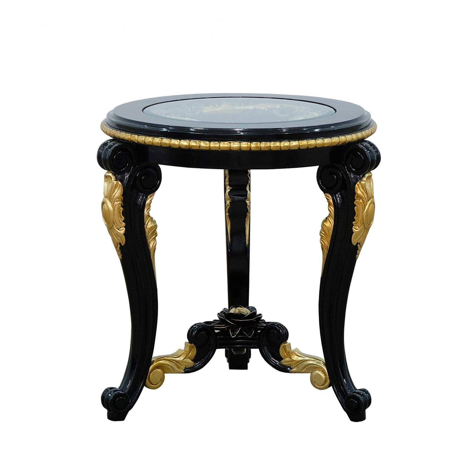 Classic  Traditional Beige  Gold  Antique   Black Wood  Solid Hardwood and  End Table EUROPEAN FURNITURE 30019-ET