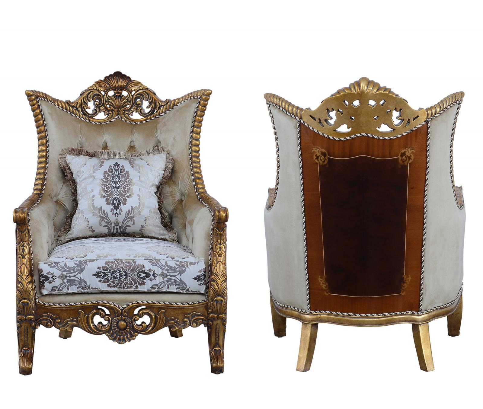 Classic  Traditional Beige  Bronze  Antique Wood  Solid Hardwood and Fabric Arm Chair Set EUROPEAN FURNITURE 31054-C-Set-2