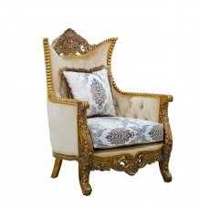 Classic  Traditional Beige  Bronze  Antique Wood  Solid Hardwood and Fabric Arm Chair EUROPEAN FURNITURE 31054-C