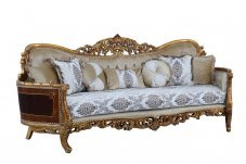 Classic  Traditional Beige  Bronze  Antique Wood  Solid Hardwood and Fabric Sofa EUROPEAN FURNITURE 31054-S