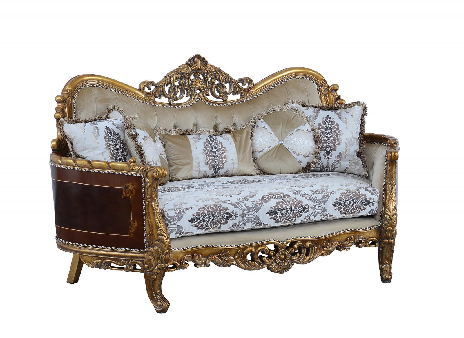 Classic  Traditional Beige  Bronze  Antique Wood  Solid Hardwood and Fabric Loveseat EUROPEAN FURNITURE 31054-L