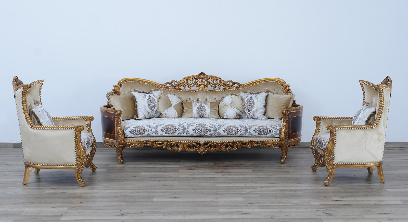Classic  Traditional Beige  Bronze  Antique Wood  Solid Hardwood and Fabric Sofa Set EUROPEAN FURNITURE 31054-S-Set-3
