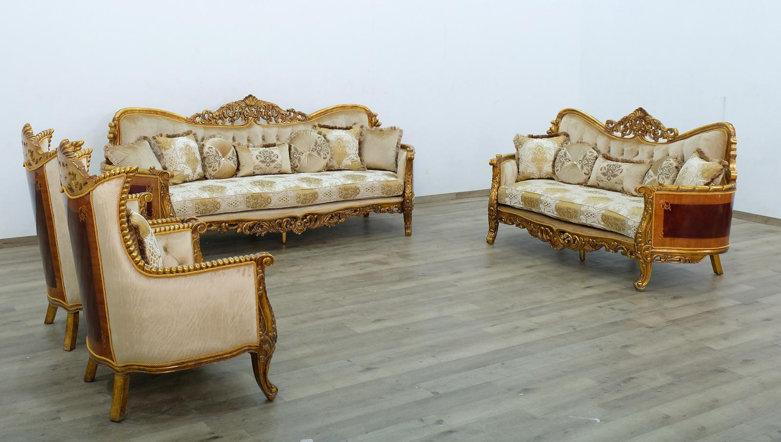 Classic  Traditional Beige  Gold  Antique Wood  Solid Hardwood and Fabric Sofa Set EUROPEAN FURNITURE 31055-S-Set-4