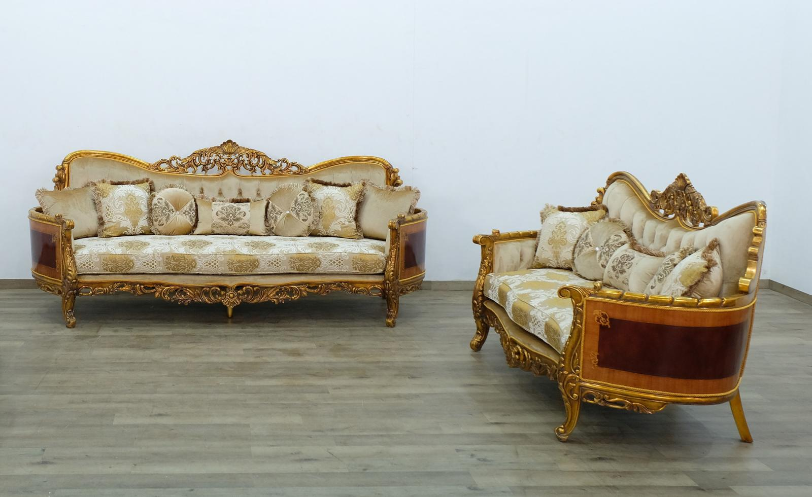 Classic  Traditional Beige  Gold  Antique Wood  Solid Hardwood and Fabric Sofa Set EUROPEAN FURNITURE 31055-S-Set-2