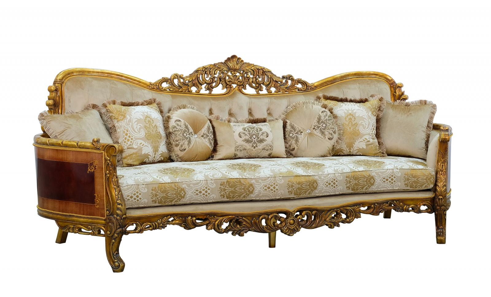 Classic  Traditional Beige  Gold  Antique Wood  Solid Hardwood and Fabric Sofa EUROPEAN FURNITURE 31055-S